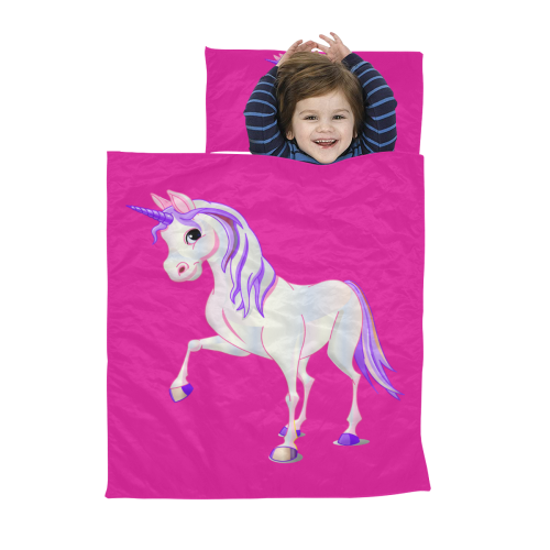 Pretty Purple Unicorn Hot Pink Kids' Sleeping Bag