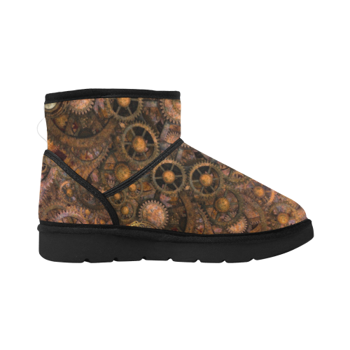 Steampunk Cogs Aaarghs Low Top Unisex Snow Boots (Model 049)