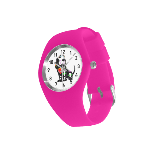 Basset Hound Sugar Skull Pink Simple Style Candy Silicone Watch (Model 315)