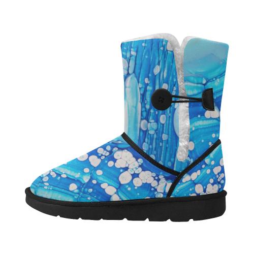 ice bubbles. Unisex Single Button Snow Boots (Model 051)