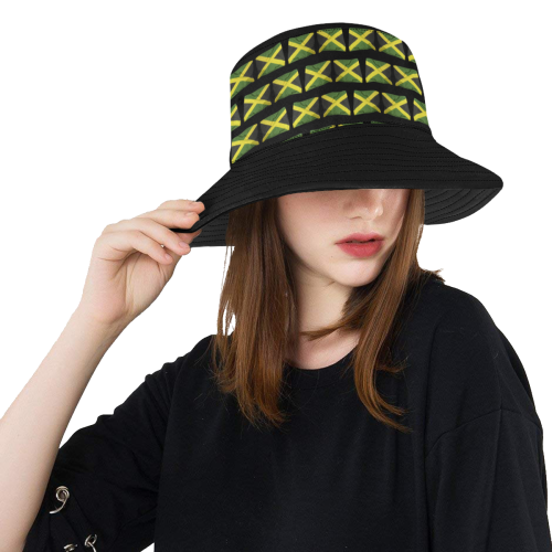 Jamaican Flags Center All Over Print Bucket Hat