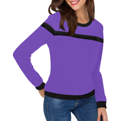 Basic Purple Solid Color Women's Fringe Detail Sweatshirt (Model H28)