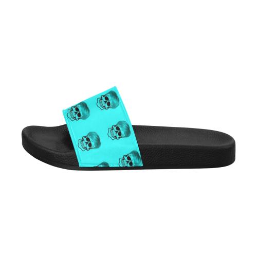 Funny Skull Pattern, aqua Men's Slide Sandals (Model 057)