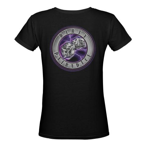 Lightning V Tee Women's Deep V-neck T-shirt (Model T19)