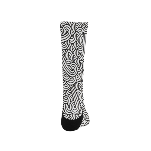 Black and white swirls doodles Trouser Socks (For Men)
