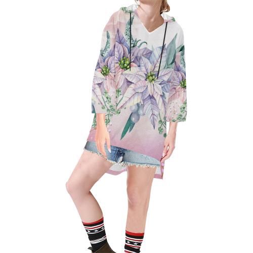 Wonderful flowers, watercolor Step Hem Tunic Hoodie for Women (Model H25)
