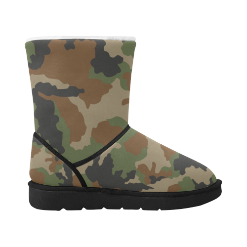 woodland camouflage DESIGN BOOTS Unisex Single Button Snow Boots (Model 051)