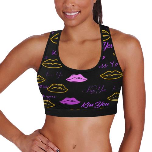 Kiss You Black Women's Sports Bra Women's All Over Print Sports Bra (Model T52)