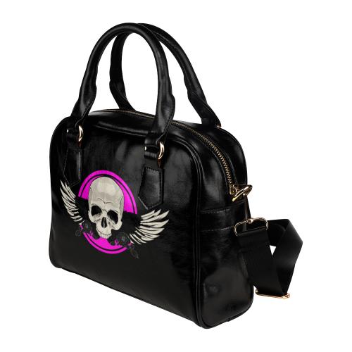 Wing Skull - Pink Shoulder Handbag (Model 1634)