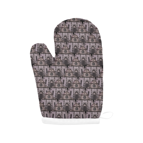 gothic church pattern Oven Mitt (Two Pieces)