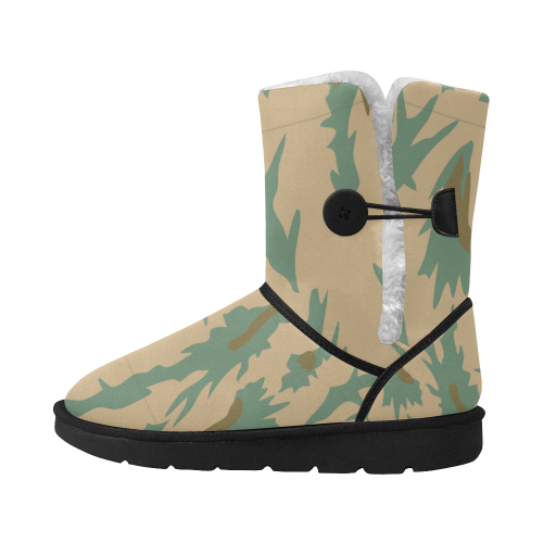 Forest and Desert Camouflage Boots 2 Unisex Single Button Snow Boots (Model 051)