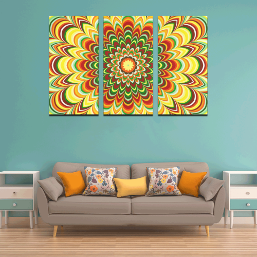 Colorful flower striped mandala Canvas Wall Art X (3 pieces)