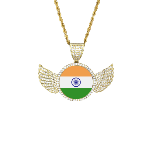 India Flag Wings Gold Photo Pendant with Rope Chain