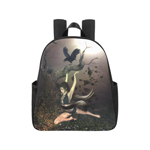 Beautiful fairy with crow Multi-Pocket Fabric Backpack (Model 1684)