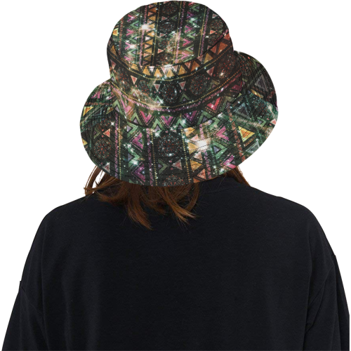 Native American Ornaments Watercolor Galaxy Patter All Over Print Bucket Hat