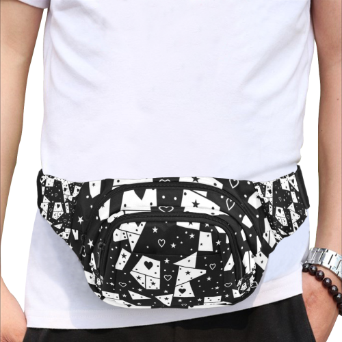 Black and White  Popart by Nico Bielow Fanny Pack/Small (Model 1677)