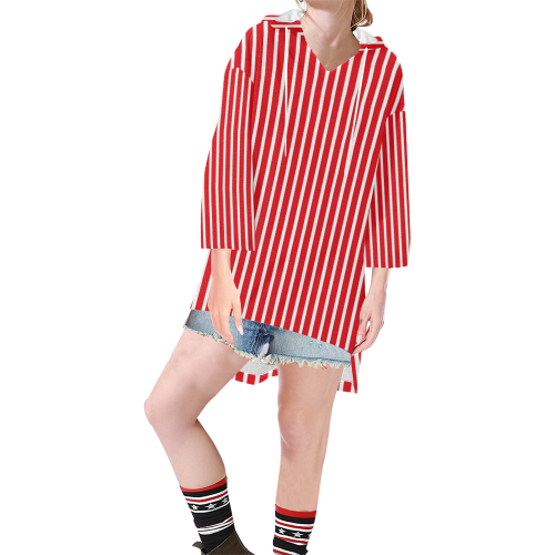 Red White Candy Striped Step Hem Tunic Hoodie for Women (Model H25)