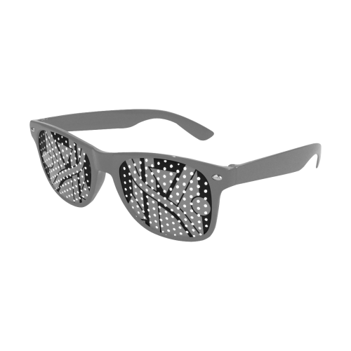 Black Geometric Art Stripes Triangles Dots Cut Custom Goggles (Perforated Lenses)