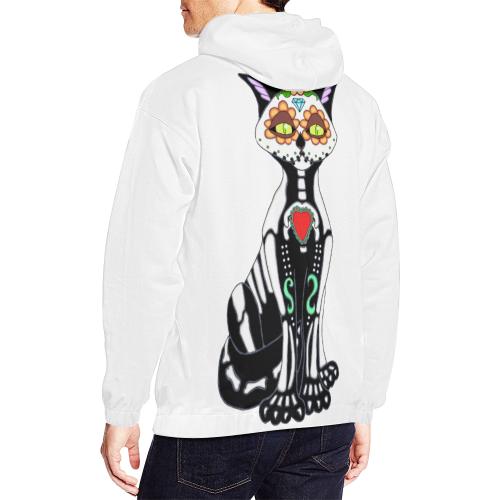 Sugar Skull Cat White All Over Print Hoodie (for Men)