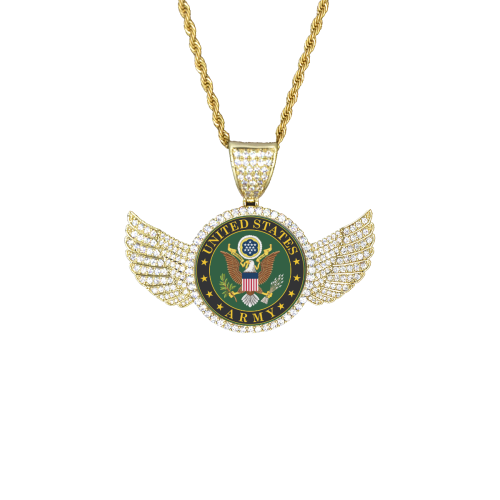 USArmy Wings Gold Photo Pendant with Rope Chain