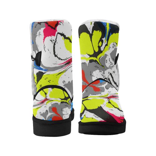 Colorful distorted shapes2 Unisex Single Button Snow Boots (Model 051)