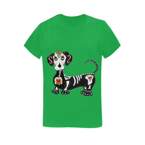 Dachshund Sugar Skull Irish Green Women's Heavy Cotton Short Sleeve T-Shirt