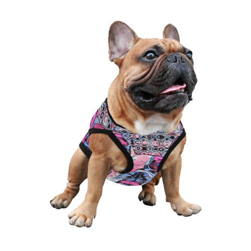 FRENCH BULLDOG ART PINK All Over Print Pet Tank Top
