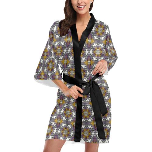 Golden Violet Kimono Robe
