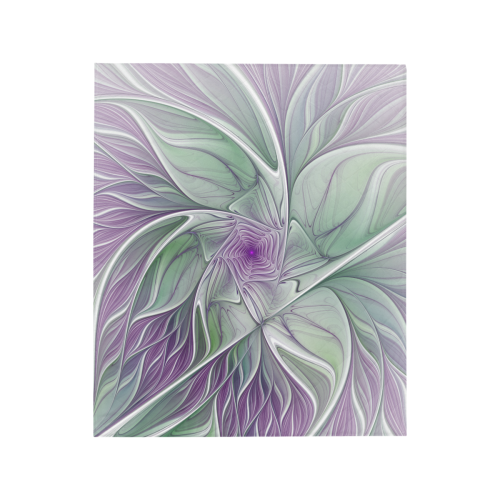 "Flower Dream Abstract Purple Sea Green Floral Fractal Art Quilt 50""x60"""