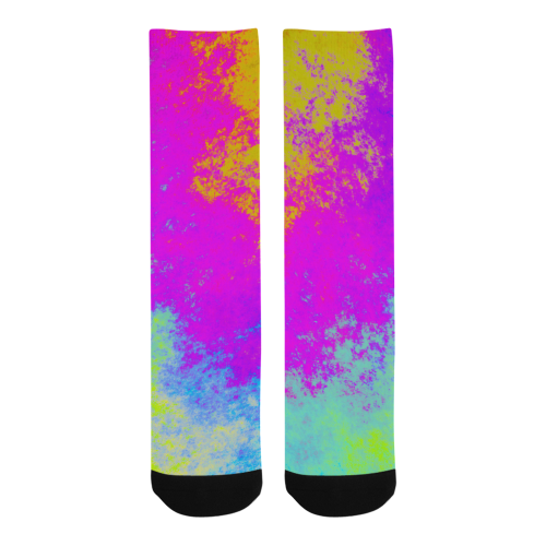 Grunge Radial Gradients Red Yellow Pink Cyan Green Trouser Socks (For Men)
