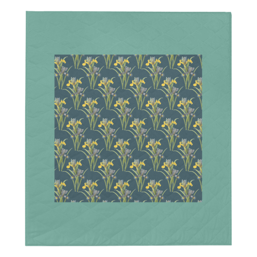 "Yellow irises Quilt 70""x80"""