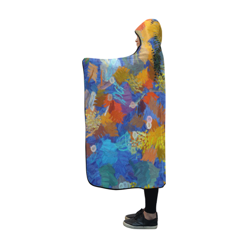 Colorful paint strokes Hooded Blanket 60''x50''