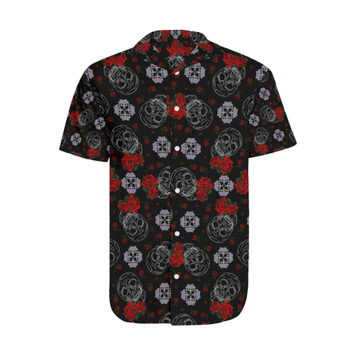 Crowns and Roses Gothic Skull print Men's Short Sleeve Shirt with Lapel Collar (Model T54)