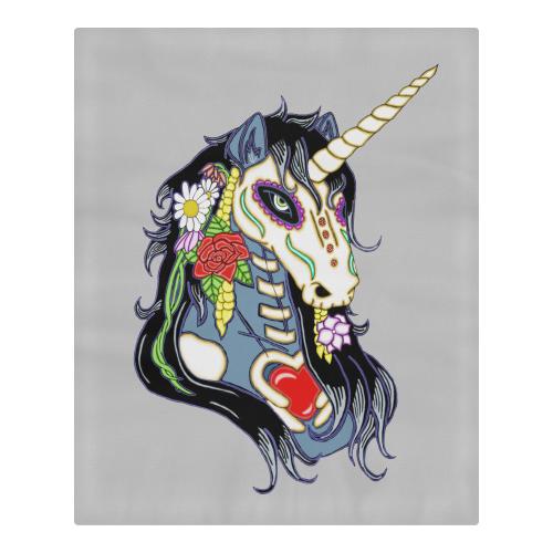 Spring Flower Unicorn Skull Lt Grey 3-Piece Bedding Set