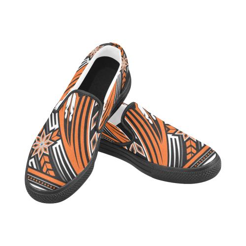 Wind Spirit Orange Men's Slip-on Canvas Shoes (Model 019)