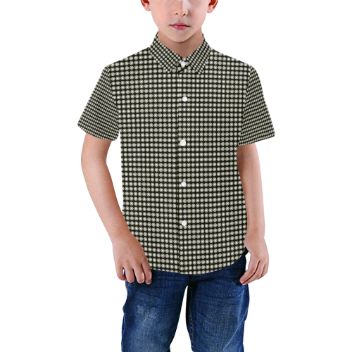 Black and White Checks Preppie Boys' All Over Print Short Sleeve Shirt (Model T59)