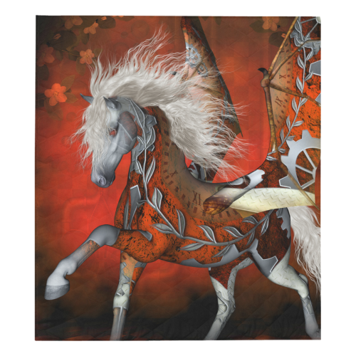 "Awesome steampunk horse with wings Quilt 70""x80"""