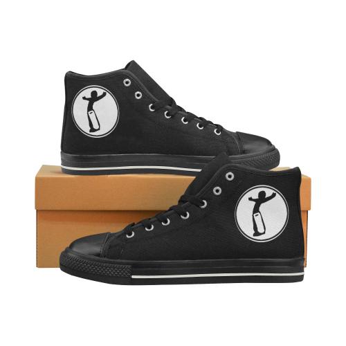 DW_Blk/Wht Love Men's Classic High Top Canvas Shoes (Model 017)