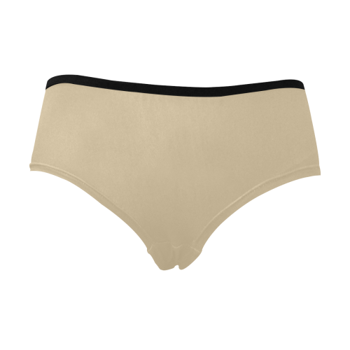 Color Solid Soybean Women's Mid Rise Briefs (Model L26)