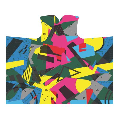 Crolorful shapes Hooded Blanket 60''x50''
