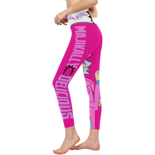 Majikally Delicious RnM All Over Print High-Waisted Leggings (Model L36)