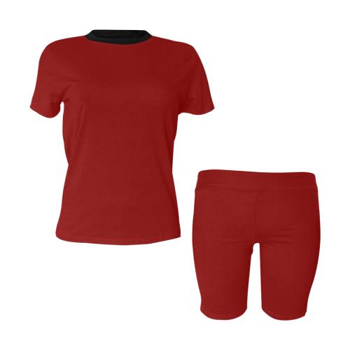 color dark red Women's Short Yoga Set (Sets 03)