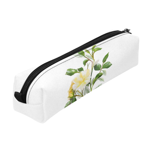 Yellow Rose, floral watercolor Pencil Pouch/Small (Model 1681)