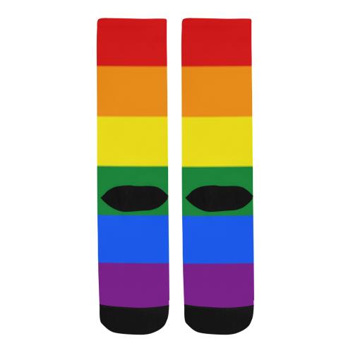 Gay Pride Rainbow Flag Stripes Trouser Socks (For Men)
