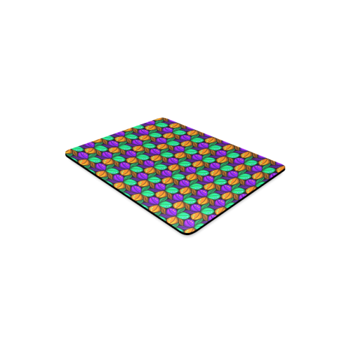 Tricolor Floral Pattern Orange Green and Violet Rectangle Mousepad