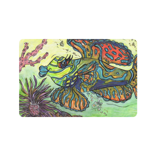 "Mindy the Mandarin Fish doormat Doormat 24""x16"" (Black Base)"