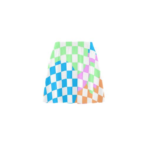 Colorful Retro Checkerboard Mini Skating Skirt (Model D36)
