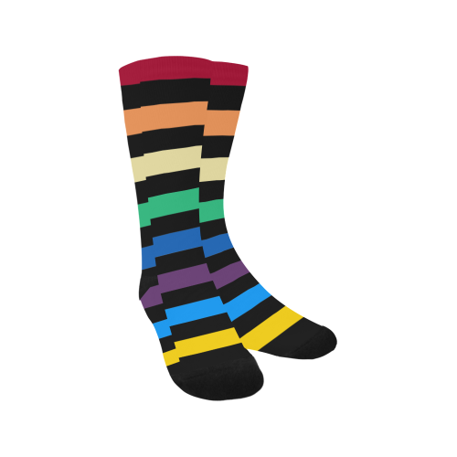 Rainbow Stripes with Black Trouser Socks