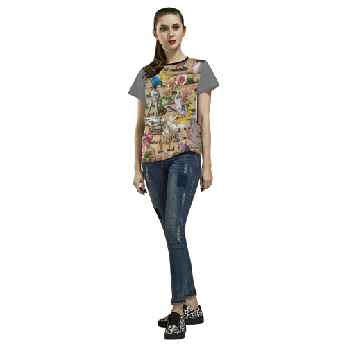 Busy Day (grey) All Over Print T-shirt for Women/Large Size (USA Size) (Model T40)