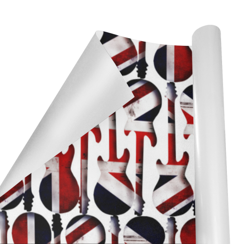 """Union Jack British UK Flag Guitars Gift Wrapping Paper 58""""x 23"""" (1 Roll)"""
